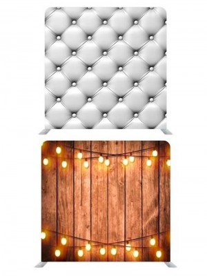 8ft*7.5ft White Chesterfield and Rustic Wood with Fairy Lights Backdrop, With or Without Tension Frame