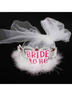 'Bride To Be' Silver Tiara With White Veil