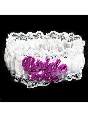 White Pink 'Bride To Be' Lace Garter