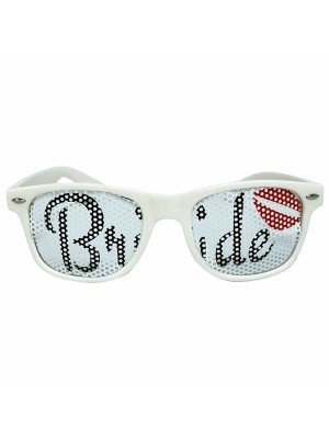 White 'Bride' Sunglasses With Lips