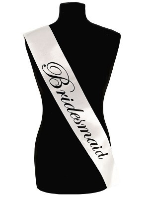 White With Black Writing 'Bridesmaid' Sash