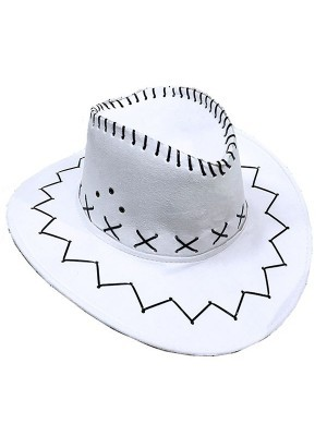 White Suede Effect Cowboy Hat