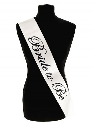 White With Black Writing 'Bride To Be' Sash