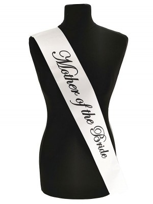 White With Black Writing 'Mother Of The Bride' Sash