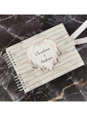 CUSTOM Rustic Wood & Gold Geometric Heart Guestbook with Different Page Style Options
