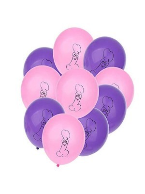 Pink And Purple Willy Hen Balloons (10 Pack)