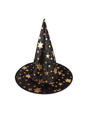 Black & Gold Stars Wizard & Witches Pointed Hat Halloween Fancy Dress Accessory
