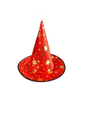 Red & Gold Stars Wizard & Witches Pointed Hat Halloween Fancy Dress Accessory
