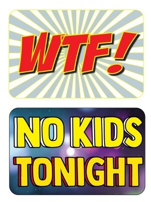 WTF & No Kids Tonight, Double-Sided PVC Rectangle Photo Booth Word Board Signs