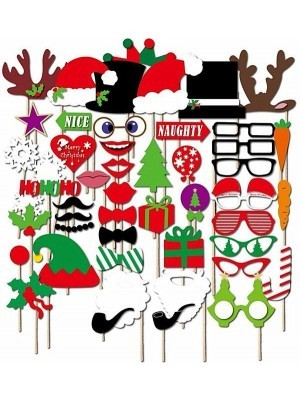 50pcs Christmas Themed Photo Booth Xmas Party Props on Sticks