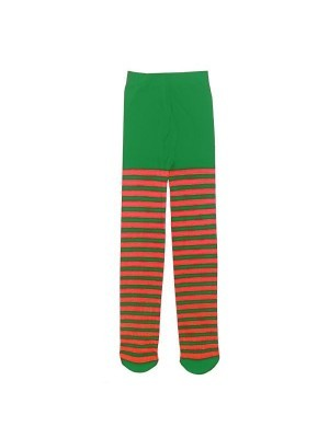 Kids Tights - Christmas Red and Green Elf Stripes