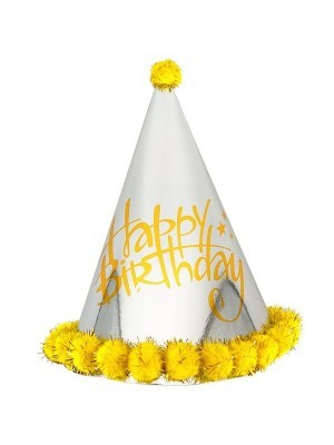 Yellow & Silver Holographic 'Happy Birthday' Paper Hat