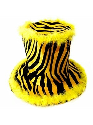 Yellow Tiger Print Feathered Hat