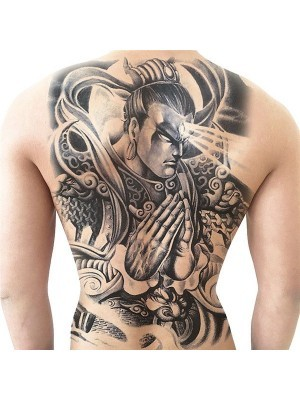 Evil Third Eye Samurai Full Back Temporary Tattoo Body Art Transfer No. 15