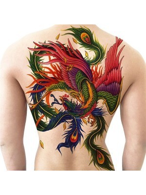 Colourful Phoenix Full Back Temporary Tattoo Body Art Transfer No. 30