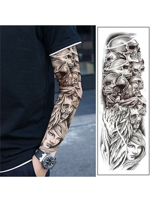 Black and Grey Fallen Angel Halloween Skull Sleeve Temporary Tattoo Body Art Transfer No. 37