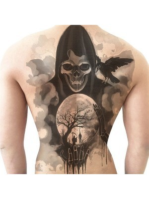 Grim Reaper Crystal Ball Halloween Full Back Temporary Tattoo Body Art Transfer No. 42