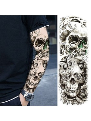 Black and Grey Pretty Flowered Skull Sleeve Temporary Tattoo Body Art Transfer No. 64
