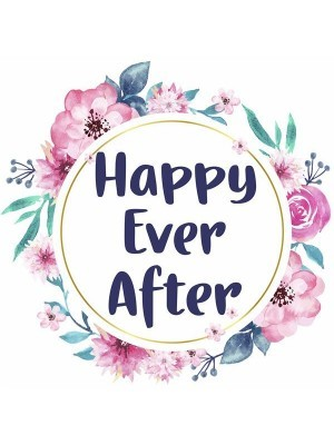 'Happy Ever After' Flower Wreath Wedding Word Board Photo Booth Prop