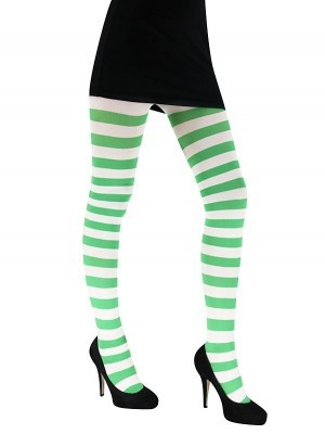 Adult Tights - Green & White Striped