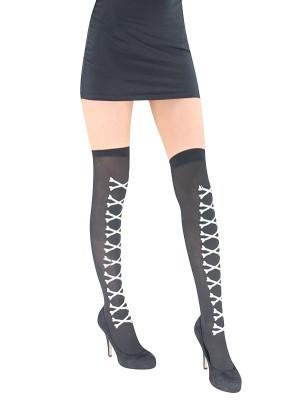 Adult Cross Bone Black Stockings