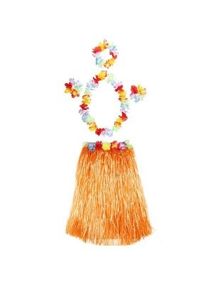 Adult Hawaiian Hula Set In Orange