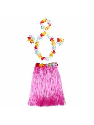 Adult Hawaiian Hula Set In Pink