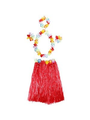 Adult Hawaiian Hula Set In Red