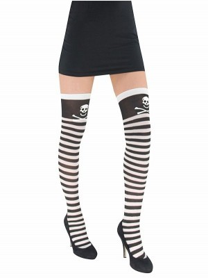Adult Stockings - Black and White Pirate Stripes