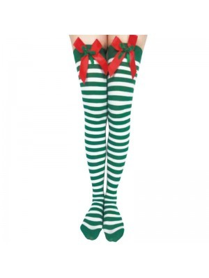 Adult Stockings – Xmas White & Green Striped with Bows