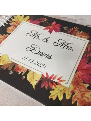 CUSTOM Autumnal Leaf Frame Guestbook with Different Page Options