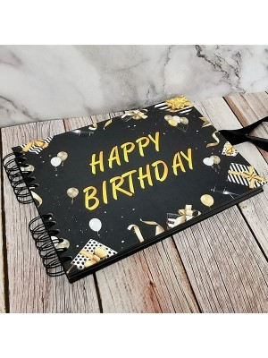 Good Size Black Cover Happy Birthday Guestbook