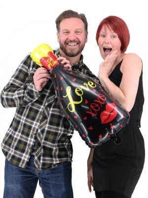 Giant 'Be Mine' Love and Kisses Black Bottle Balloon