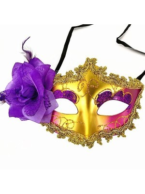 Beautiful Purple Flowered Masquerade Mask in Gold