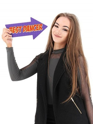 Love Him & Best Dancer, Double-Sided PVC Arrow Photo Booth Word Board Signs