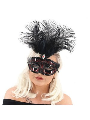 Ultimate Feathered Burlesque Masquerade Mask in Black