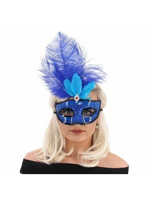 Ultimate Feathered Burlesque Masquerade Mask in Blue