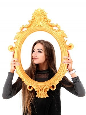 Large Size Gold Colour Antique Style Oval Posing Frame