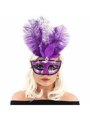 Ultimate Feathered Burlesque Masquerade Mask in Purple
