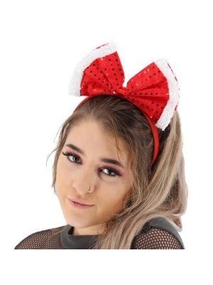 Big Red Christmas Sequined Bow Headband