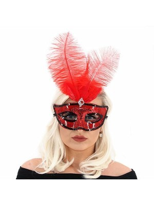 Ultimate Feathered Burlesque Masquerade Mask in Red