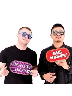 Big Winner & I'm Feeling Lucky, Double-Sided PVC Casino Photo Booth Word Board Signs