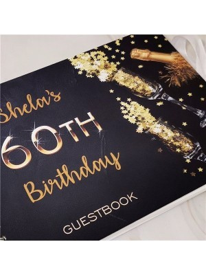 CUSTOM Black With Gold Birthday Confetti Guestbook with Page Options