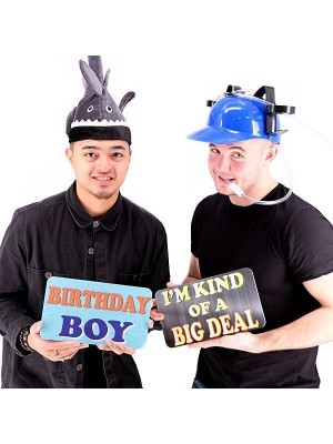 Birthday Boy & I'm Kind Of A Big Deal, Double-Sided PVC Rectangle Photo Booth Word Board Signs