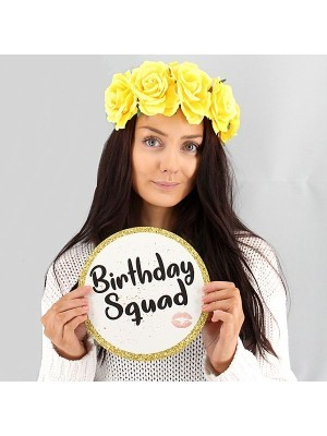 Birthday Squad & Fashionably Drunk, Double-Sided PVC Round Photo Booth Word Board Signs