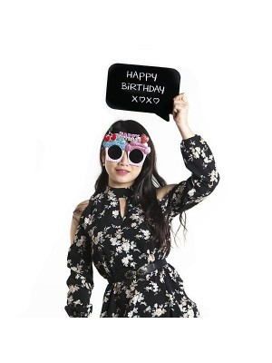 'HAPPY BIRTHDAY X❤X❤' Black Speech Bubble Photo Booth Prop