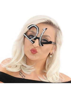 Black '21' Birthday Shaped Diamante Sunglasses