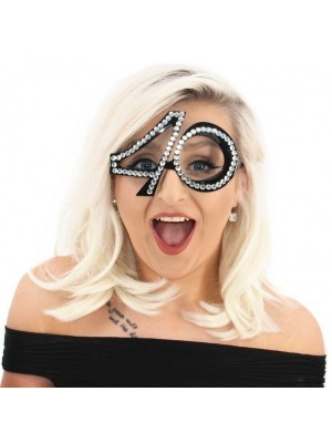 Black '40' Birthday Shaped Diamante Sunglasses