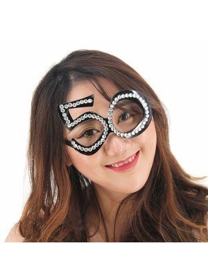 Black '50' Birthday Shaped Diamante Sunglasses