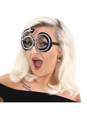 Black '60' Birthday Shaped Diamante Sunglasses